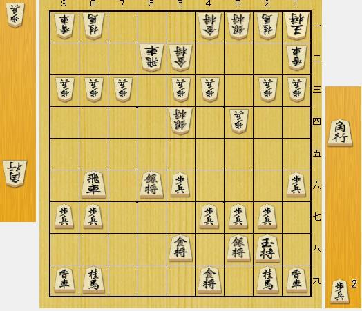 (前問の問題図の△1一玉に代わり、△6五歩からの変化です。▲8六飛から角交換をして△1一玉の局面です。)