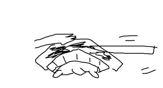 ④:鉛筆は立てないで、横にして全体的に塗ります。